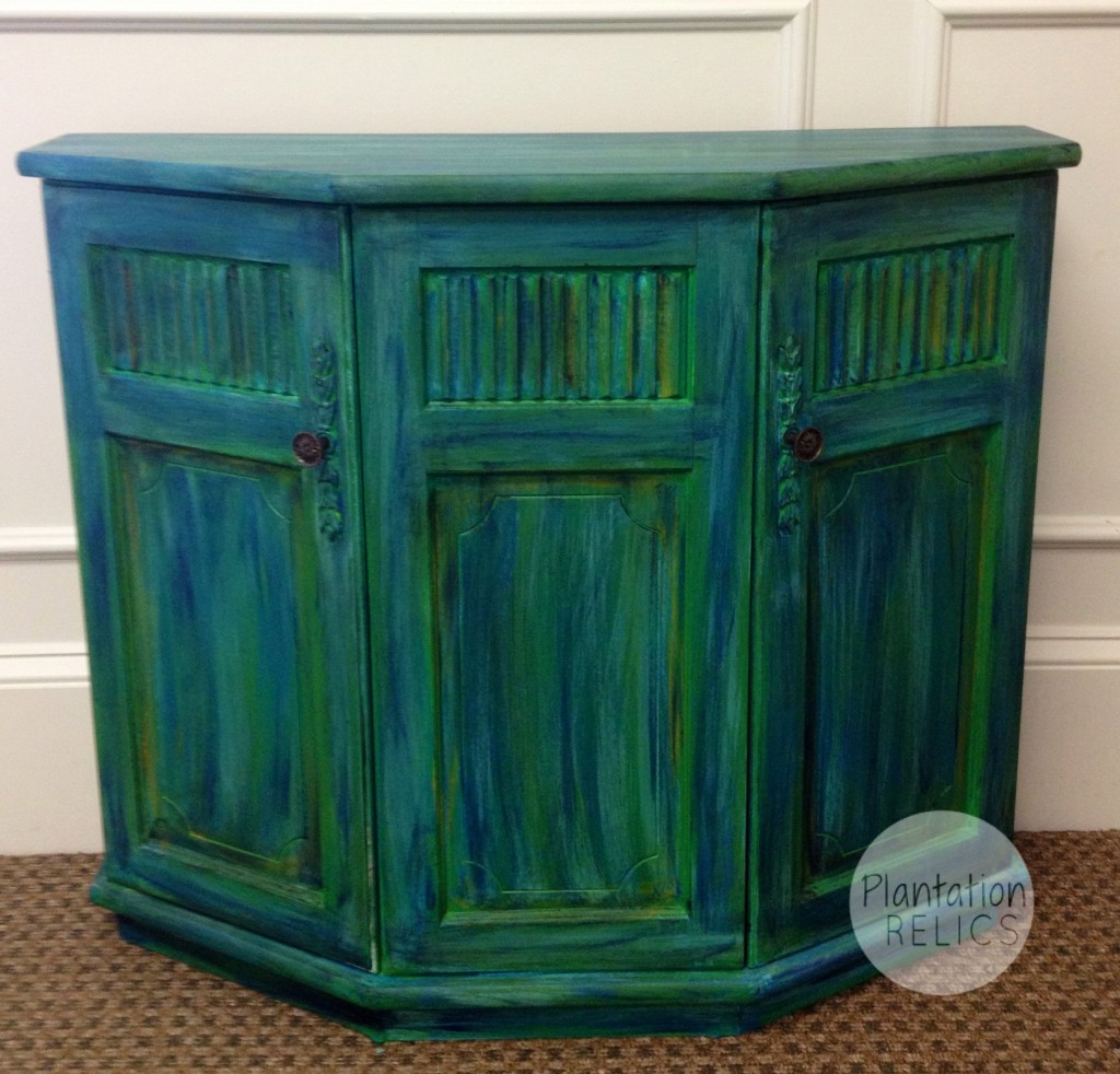 ... Console Table With Green And Blue Glaze ...