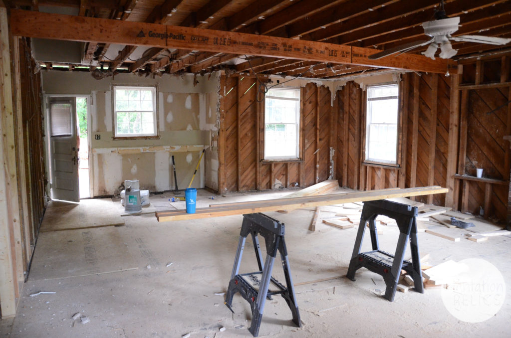 Living Room Demo before back wall out flip