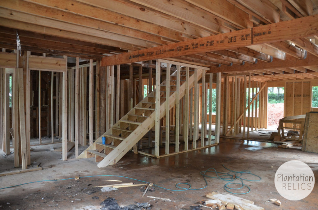 Living Room Framing Stairs flip
